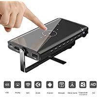 HUKOER Mini Projector, Portable DLP Pico Pocket Video Projector with Keystone Correction, Wireless WiFi DLNA HDMI USB TF Card, iPhone Android Windows, Home Office Outdoor, 854480(Support 1080P Input)