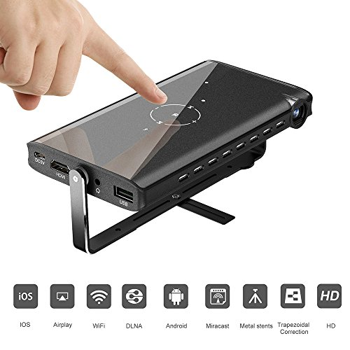 ETE ETmate LED Mini Projectors Portable Pocket Video Projector Smart Mobile Projector Support Wired Wireless for iPhone & Android Home Cinema,Outdoor Movie,Black