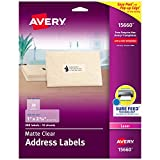 Avery Matte Frosted Clear Address Labels for Laser Printers, 1' x 2-5/8', 300 Labels (15660)