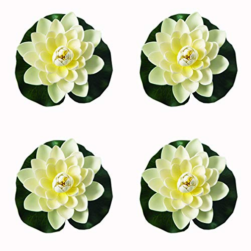 4 Pieces Floating Flower-Herxuhouse Floating Pond Decor Water Flower Foam Artificial Lotus for Home & Party Decoration & Holiday Celebration -
