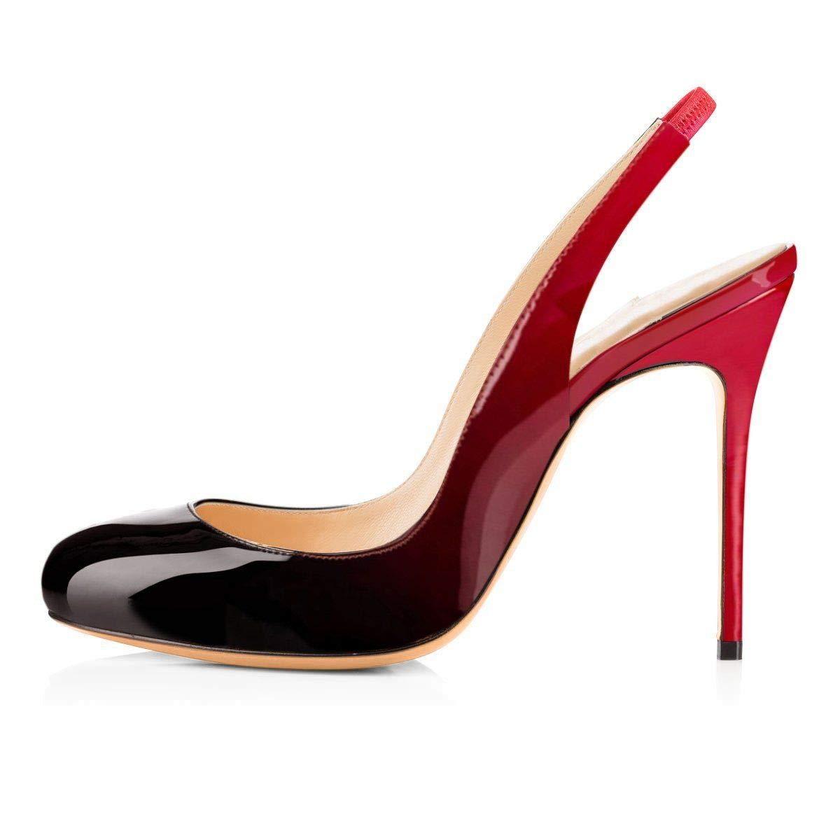 Black&Red Heels Addict's Women's shoes Round Toe Sling Back High Heel Sandals