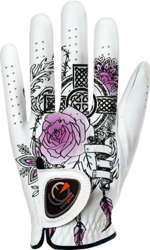 easyglove FASHION_TATOO-PURPLE-W Women's Golf Glove (White), Small, Worn on Left Hand