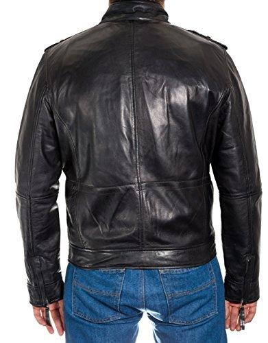 Tasche Stud Nero Del Uomo Jacket Cuoio Zip Dettagliate Anteriore IwH1SBpq