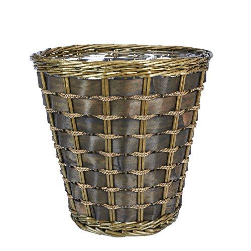 Household Essentials ML-2317 Medium Decorative Waste Basket | Haven Willow and Poplar | Natural Dark Brown