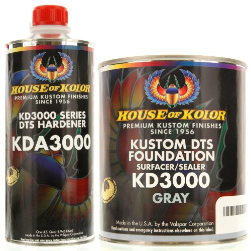 House of Kolor GALLON KIT GRAY Color KD3000 DTS Surfacer / Sealer w/ Hardener (Kolor Primer House Of)