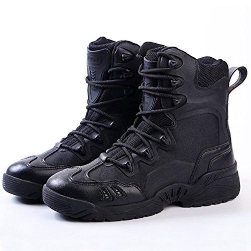 YiLianDa Herren Warm Gefütterte Stiefeletten Outdoor Worker Boots Winterschuhe Camouflage Schuhe Schwarz