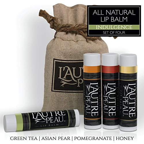 All Natural Luxury Lip Balm with Natural Beeswax by L'AUTRE PEAU - Dry Chapped Lips Treatment with Moisturizer | Indulgence Gift Set | Green Tea, Asian Pear, Pomegranate & Honey (4 Pack) (Best Thing For Chapped Lips Besides Chapstick)