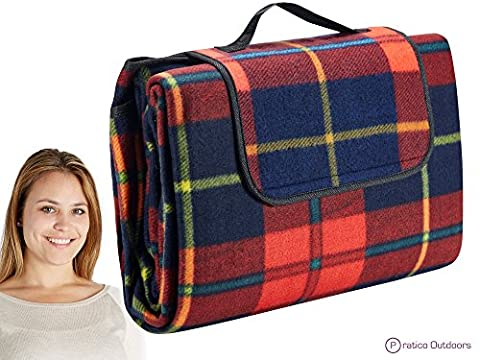 Extra Large Picnic & Outdoor Blanket with Water-Resistant Backing - Red 60 x 80 inches - Plaid Electric Blanket