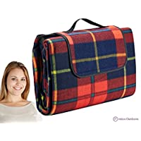 Extra Large Picnic & Outdoor Blanket with Water-Resistant Backing - Red 60 x ...