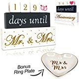 Happy Occasion's Wooden Blocks Wedding Countdown Calendar with Ring Plate. Perfect for Engagement Gifts or Wedding Gifts for the Couple