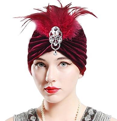 BABEYOND Women's Ruffle Turban Hat Knit Turban Headwraps With Detachable Crystal Brooch Vintage Chemo Turban Stretch Indian Style Turban Cap