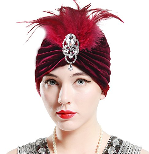 BABEYOND Women's Turban Hat With Detachable Crystal Brooch Vintage Head Wrap Knit Pleated Turban (Wine Red) (Womens Hats From The 1920s)