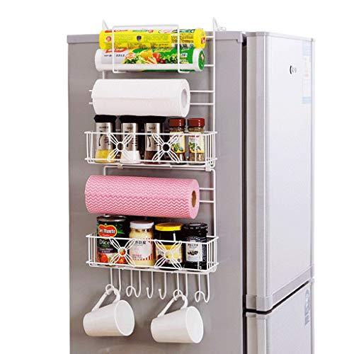 Stainless Steel Refrigerator Finishing Frame - Creative Refrigerator Side Hanging Shelf 5-layer Metal Hook Storage Basket Kitchen Multifunctional Storage Rack Hook Frame Finishing Rack
