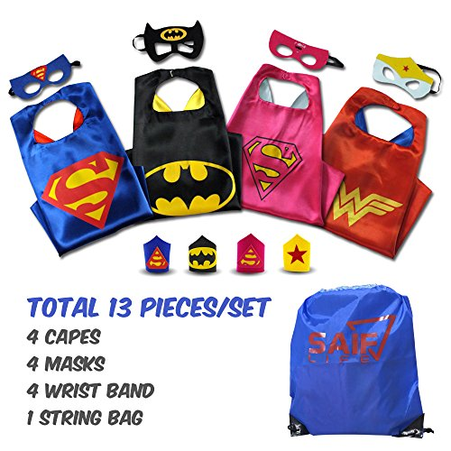 Superhero capes for kids with Masks & Wristbands-4 capes for Boys & Girls with String Bag pack. Pretend play Halloween costume gift or party supply characters-Superman,Batman,Super Girl & Wonder Woman for $<!--$25.99-->