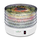 NutriChef PKFD12 Kitchen Electric Countertop Food Dehydrator, Food Preserver with 5 Stackable Trays , White
