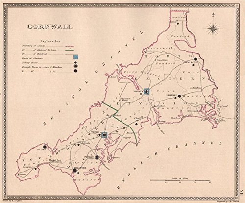 CORNWALL antique county map by CREIGHTON/WALKER. Electoral - 1835 - old map - antique map - vintage map - Cornwall map s
