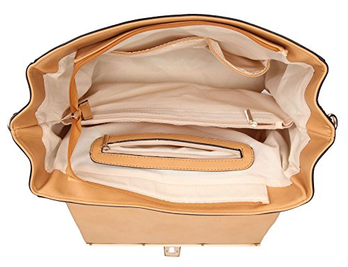 blac Bag Multi Shoulder Floral Print Designer cream Handbag Patent Pocket Shop Structured Design 3 Effect Medium Tan Big Semi Satchel H1zO7wqq