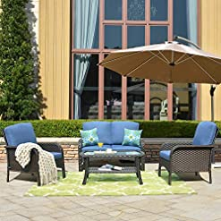 Garden and Outdoor ovios 4 Pieces Outdoor Patio Furniture Sets Rattan Chair Wicker Set with Cushions,Table,Outdoor Indoor Backyard Porch… outdoor lounge furniture