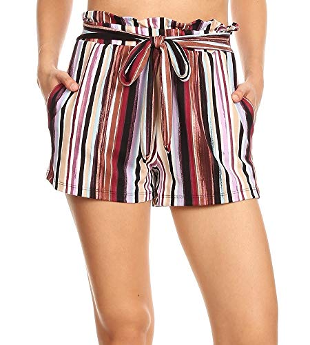 ShoSho Womens Bohemian Casual Paper Bag Waist Shorts Summer Bottoms Loose Fit Waist Tie & Pockets Brushed Striped Multi-Color Large