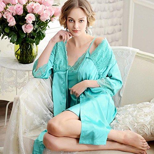 Wanyne Robes -dressing Avec Robe Bracelet Dames Sexy Dentelle Robes De Chambre De Chemise De Nuit Serties Robe Vert Sangle
