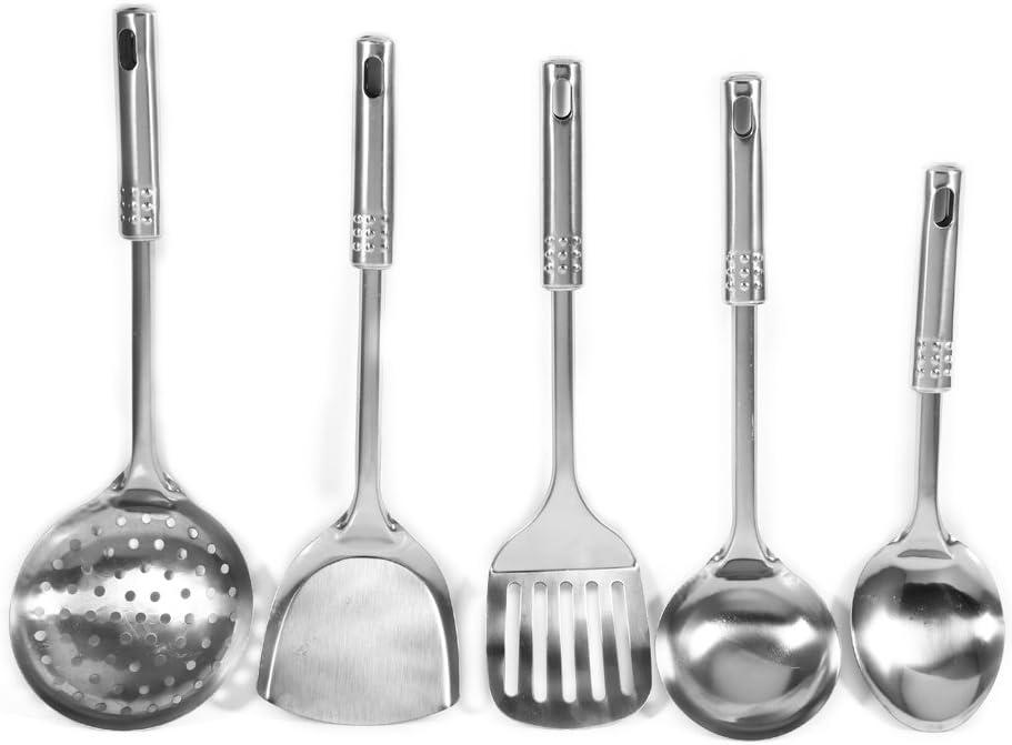 Juego de espátulas de cocina de acero inoxidable, 5 piezas, espátulas de metal (espátula+cuchara+cuchara de sopa+colador+pala plana)