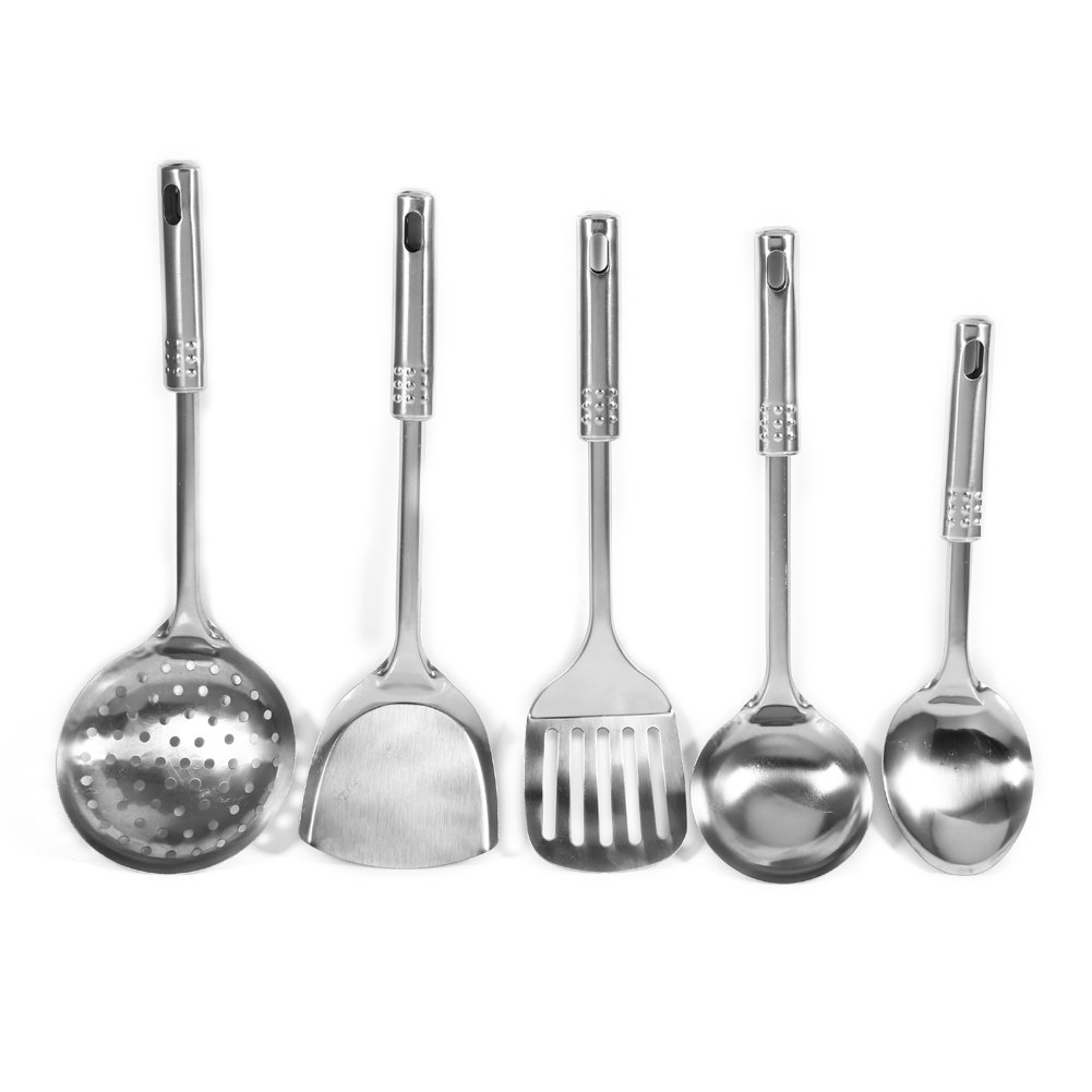 Fdit 5Pcs/Set Multi-functional Stainless Steel Kitchen Utensil Spoons Shovel Spatula Cooking Tools
