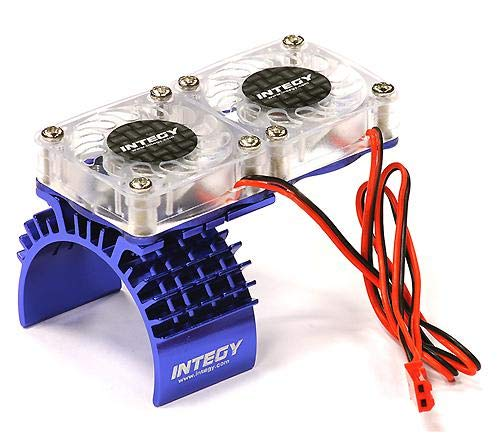 (Integy RC Model Hop-ups T8534BLUE Motor Heatsink + Twin Cooling Fan for Traxxas 1/10 Slash 4X4 (6808))