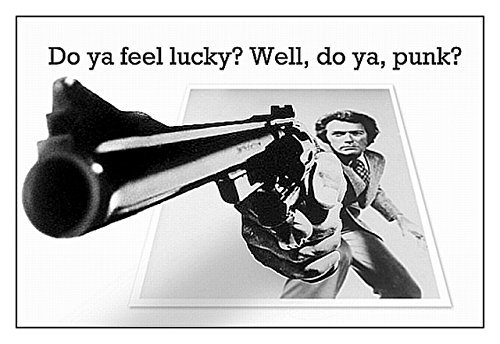 MOVIE QUOTE FRIDGE MAGNET - CLINT EASTWOOD in the film DIRTY HARRY 3½ x 2½ inches Jumbo