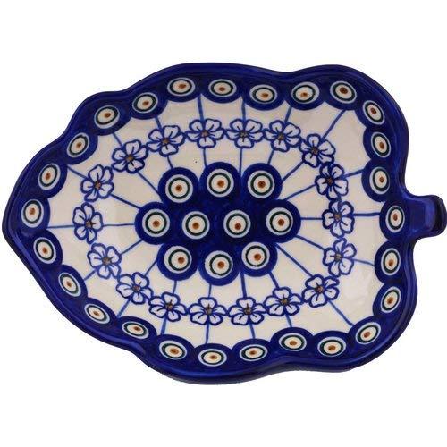 (OKSLO Polish pottery stoneware leaf shaped 8'' serving bowl)