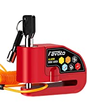 Favoto Disc Lock Alarm, 110 dB Alarm Sound Disc Brake Padlock for Motorcycle e-Bike Bicycle Scooter, 0.27 inch/7mm Lock Pin with Reminder Cable and Carrying Bag (Red)