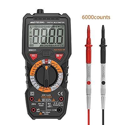 Meterk Digital Multimeter Multi Tester Trms 6000 Counts Tester Non-Contact Voltage Detection Amp Ohm Volt Multi Meter, Live Line, Temperature Measurement, with Lcd Backlit,Flashlight