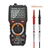 Meterk Digital Multimeter Multi Tester Trms 6000 Counts Tester Non-Contact Voltage Detection Amp Ohm Volt Multi Meter, Live Line, Temperature Measurement, with Lcd Backlit,Flashlight