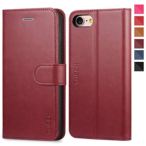 TUCCH iPhone 8 Wallet Case, iPhone 7 Case, Premium Leather Folio Case with [Kickstand] [Card Slots] [Magnetic Closure] Flip Notebook Cover [TPU Interior Case] Compatible with iPhone 8/7, Red