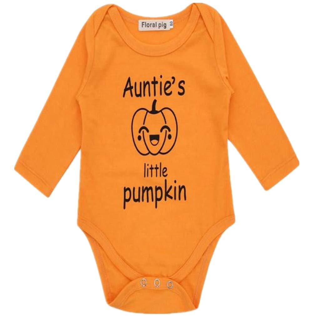 BHYDRY Halloween Newborn Baby Boys Girls Clothes Letter Pumpkin Romper Jumpsuit Costume