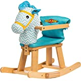 BRIGHT TOUGH SUPER COMFY CHEERY BLUE/WHITE WITH YELLOW TRIM Rockin' Rider Trotter Baby's First Rocker - Padded Seat Cushion Mesh Fabric Is Removable And Washable For Added Convenience!