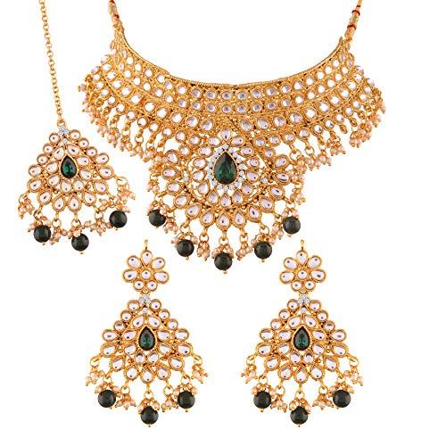 I J ewels Gold Plated Traditional Kundan Choker Necklace Set with Earrings & Maang Tikka for Women (K7074G)