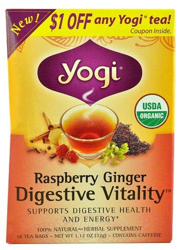 [Yogi Digestive Vitality? Herbal Tea Raspberry Ginger -- 16 Tea Bags - 2 pc] (Yogi Raspberry Tea)