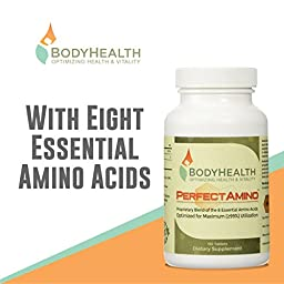 PerfectAmino 8 Essential Amino Acids Tablets with BCAA by BodyHealth™ (150 Tablets), Vegan Branched Chain Protein Pre/Post Workout | Increase Lean Muscle Mass, Boost Energy & Stamina| 99% Utilization