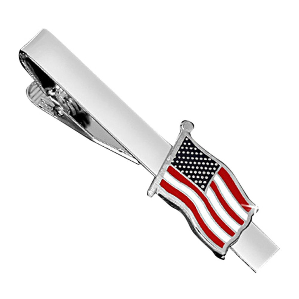 MGStyle Tie Bar Pinch Cilp For Men - 2.16 Inch For Regular Ties - the Old Glory Stars & Stripes American Flag - Silver Tone - Stainless Steel with Deluxe Gift Box