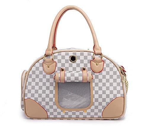 BETOP HOUSE Fashion Dog Carrier PU Leather Dog Handbag Dog Purse Cat Tote Bag Pet Cat Dog Hiking Bag, White, Large 422918cm
