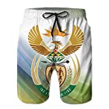 Qinf New Cartoon Fashion South Africa Coat Of Arms Summer Beach Pants Casual Shorts For Man