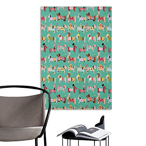 Camerofn Stickers Wall Murals Decals Removable Dog Lover Abstract Puppy Pattern with Human Clothing Fun Dress up Theme Domestic Animals Multicolor Living Room Wall W24 x H36 ()
