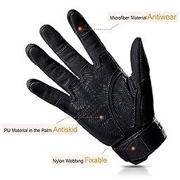 FREETOO Tactical Gloves Military Rubber Hard Knuckle Outdoor Gloves for Men Full Finger Gloves Black (L)