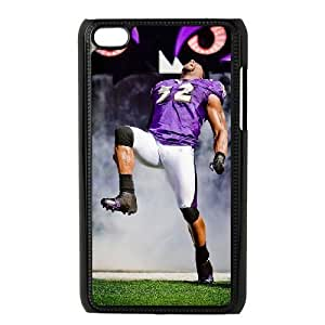 NFL iPod Touch 4 Black Cell Phone Case Baltimore Ravens QNXTWKHE0098 NFL Phone Case Cover Back Personalized