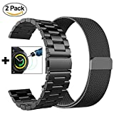 Samsung Gear Sport Bands, CAGOS 20mm Solid Stainless Steel Band+Milanese Loop Mesh Bracelet Strap for Gear Sport SM-R600NZKAXAR (Metal Black+Mesh Black Small)