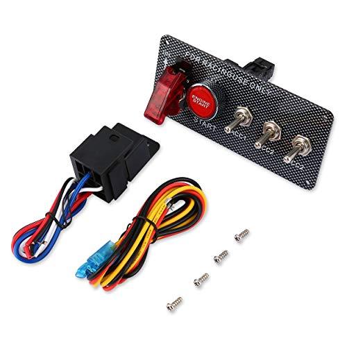 CNluca Interruptor de Encendido Universal Arranque del Motor Botón de Encendido Coche de Carreras 3 Panel de Palanca 12V...