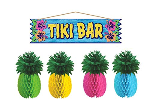 Tropical Tiki Luau Party Supplies: Bundle Includes Tiki Bar Sign and Pineapple Centerpieces