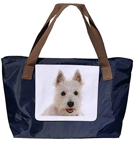 Shopper /Schultertasche / Einkaufstasche / Tragetasche / Umhängetasche aus Nylon in Navyblau - Größe 43x33cm - Motiv: West Highland White Terrier Porträt - 01
