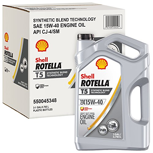 Rotella T5 Synthetic Blend Diesel Motor Oil, 15W-40 CK-4, 1 Gallon - Pack of 3