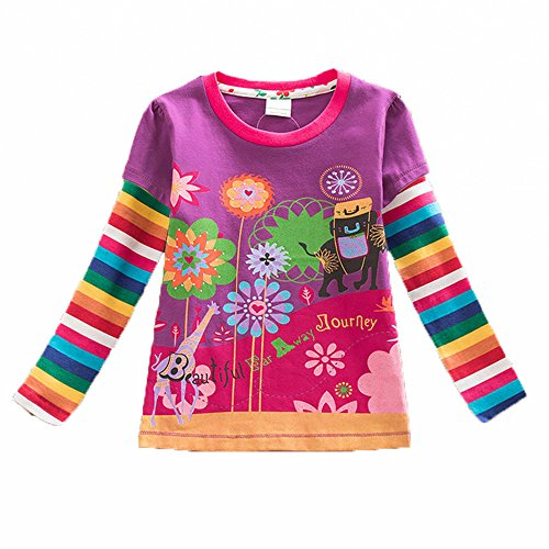 VIKITA 2017 Kid Girl Cotton Butterfly Lace Long Sleeve T Shirt Clothes L328PURPLE 5-6 Years